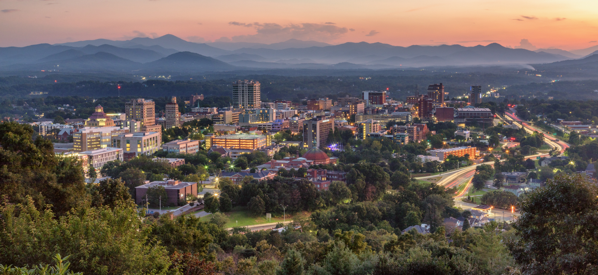 asheville skyline at sunset 2019